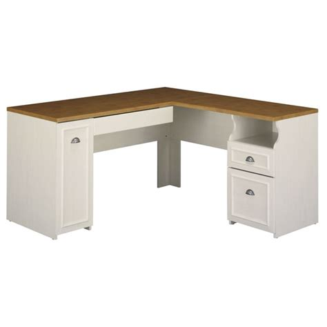 fairview l shape wood computer desk in antique white