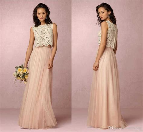 2016 Blush Pink Two Piece Long Bridesmaid Dresses Top