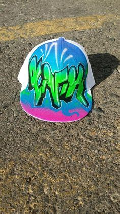 Topi Trucker Hey Fck Banaboo Shopping graffiti personalized airbrushed hats by ergun yasar his use of color and design is