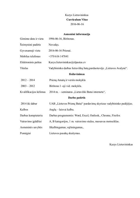 cv pavyzdys lietuviu kalba word doc pdf šablonai