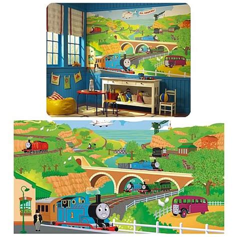 Thomas The Tank Engine Wall Murals thomas the train chair rail prepasted mural roommates