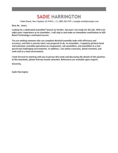Assembler Cover Letters by Best Assembler Cover Letter Exles Livecareer