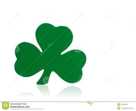 st patricks day reflection green shamrock on white background stock illustration