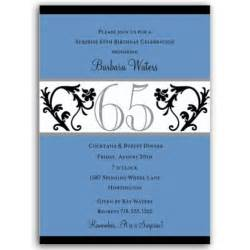 Elegant vine blue 65th birthday milestone invitations paperstyle