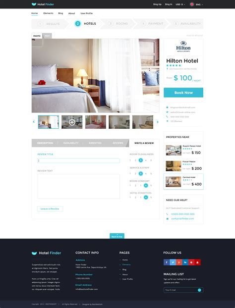 Hotel Finder Online Booking Html Website Template By Bestwebsoft Hotel Review Template