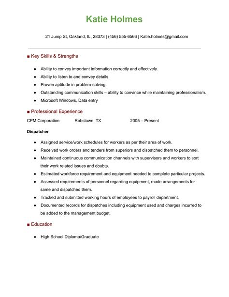 dispatcher resume format resume cover letter exle