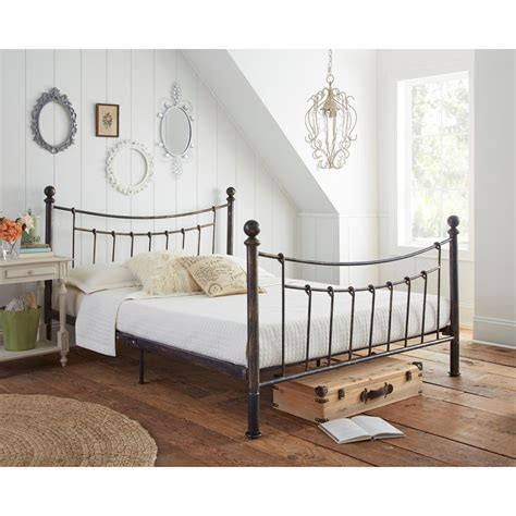 metal bed queen rest rite pracilla rustic metal queen platform bed
