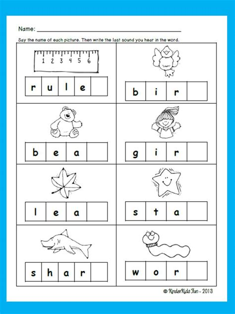 Ending Sounds Worksheets Grade by Kinderkids Friday Freebie Ending Sounds Activity Sheet