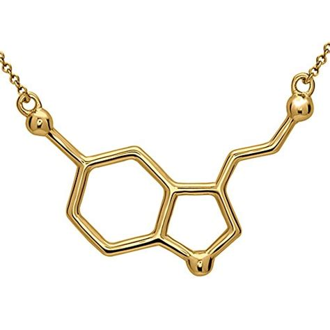Gold Phantom Necklace serotonin molecule necklace in 18k gold plated sterling silver by silver phantom jewelry lol save