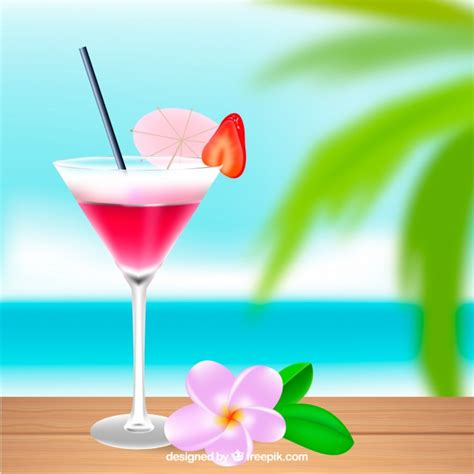 cocktails background pink tropical cocktail background vector free