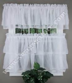 White Kitchen Curtains Tier And Valance Curtains White Lorraine