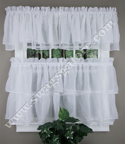 White Kitchen Curtains Tier And Valance Curtains White Lorraine Country Kitchen Curtains