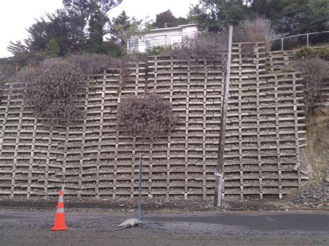 Concrete Crib Retaining Wall by Concrete Crib Wall With Broken Cribs Christchurch