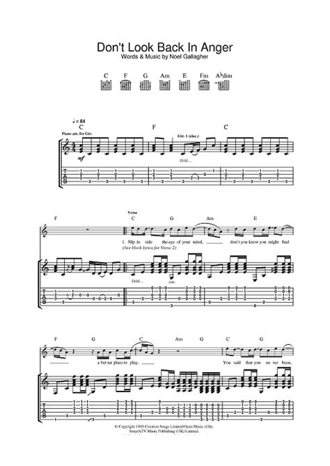 coldplay don t look back in anger chord don t look back in anger sheet music for piano and more