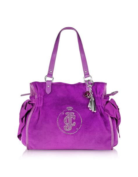 Couture Daydreamer Tote by Couture Large Velour Daydreamer Tote In Purple Gray