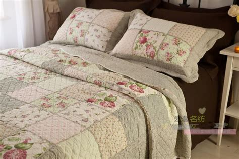country floral patchwork quilted cotton coverlet