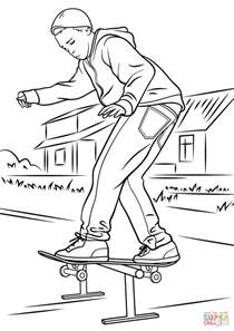 skate coloring pages balancing on skateboard coloring page free printable