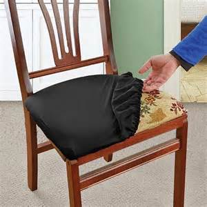 Covering Dining Room Chair Seats Black Stretch N Fit Chair Fabric Renewal Cover New Ebay