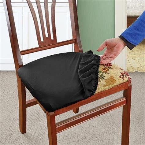 how to cover dining room chair seats black stretch n fit chair fabric renewal cover new ebay