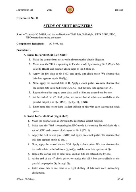 piso using 7495 343logic design lab manual 10 esl38 3rd sem 2011