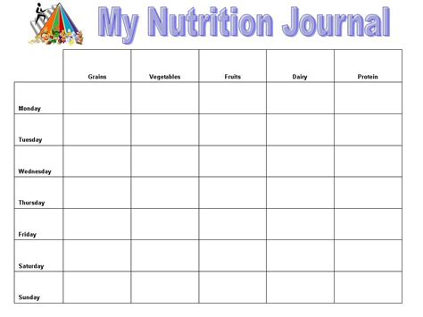 printable daily nutrition journal daily food diary template printable search results
