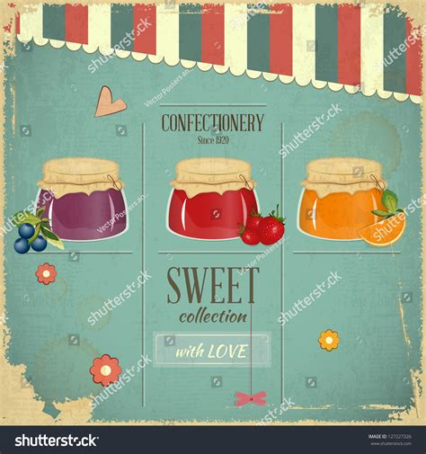 Jam Jam Dinding Gantungan Vintage Style A confectionery menu card in retro style jam marmalade dessert on vintage background vector