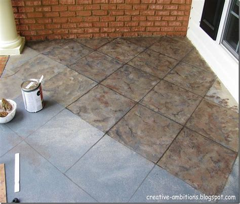 follow this to cool blog on finishing this faux tile porch
