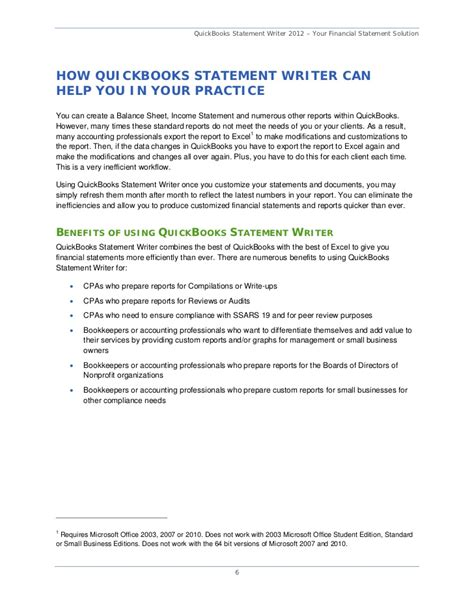 Compilation Reports Template Quickbooks Statement Writer 2012