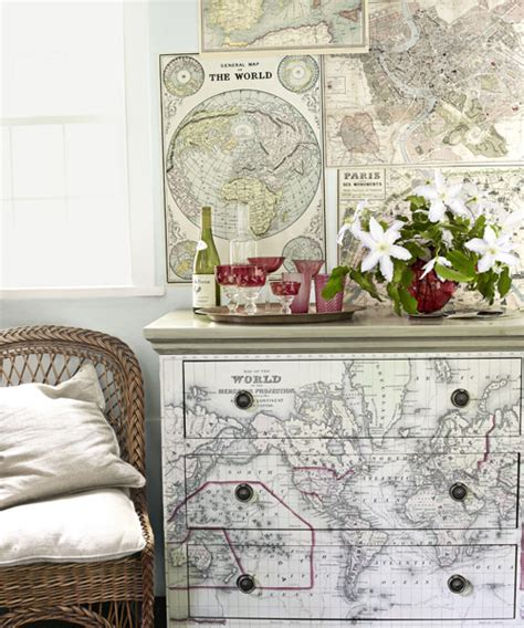 decoupage furniture with maps map home decor ideas for decorating with maps