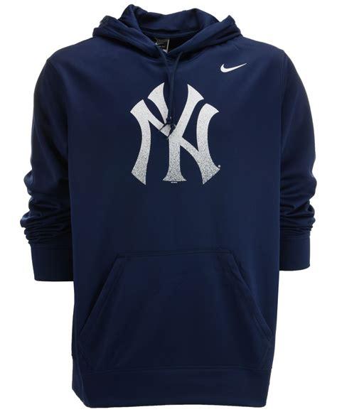 Sweater Sweatshirt Yankees Nike Terlaris lyst nike s new york yankees logo performance hoodie in blue for