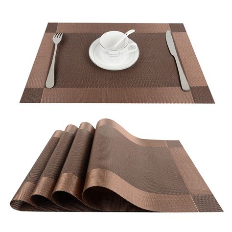 Dining Table Runners And Placemats Top Finel 4pcs Lot Pvc Decorative Vinyl Placemats For Dining Table Runner Linen Place Mat In