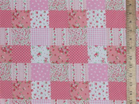 Pink Patchwork Fabric - patchwork polycotton fabric p c pink