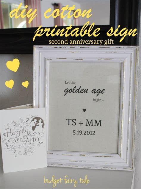 Second Anniversary Gift   DIY Cotton Printable Sign