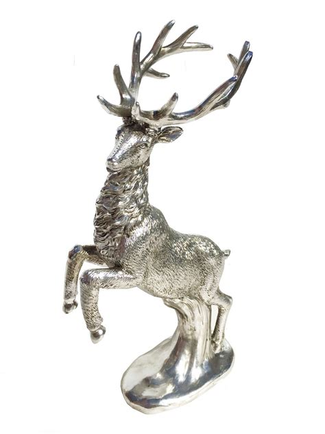 reindeer silver diamond christmas ornament silver standing reindeer stag figure statue ornament decoration ebay