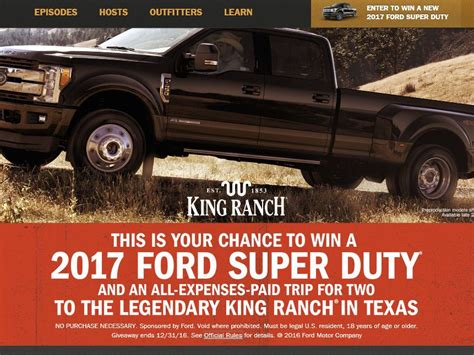 Hunting Trip Giveaways 2017 - the ford outfitters truckin to texas giveaway sweepstakes