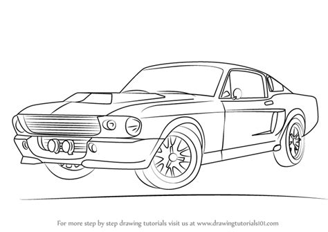 mustang drawing learn how to draw a 1968 mustang sports cars by