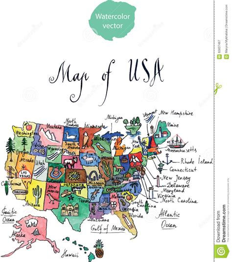 map  attractions  united states  america stock