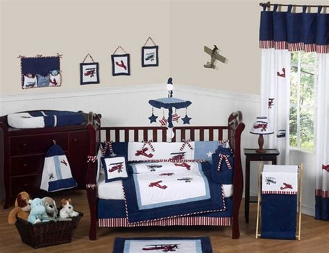 airplane baby crib bedding white and blue vintage aviator airplane baby bedding
