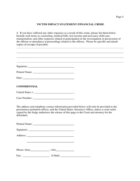 victim impact statement template victim impact statement sle form free