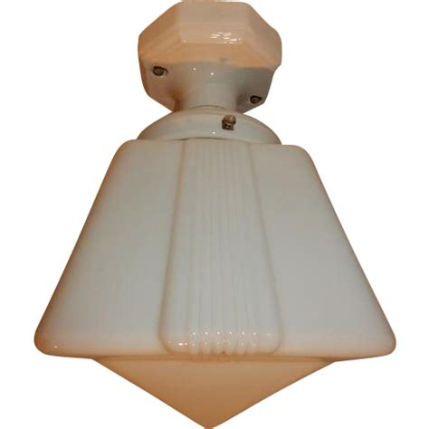 deco milk glass shade with porcelain ceiling fixture from