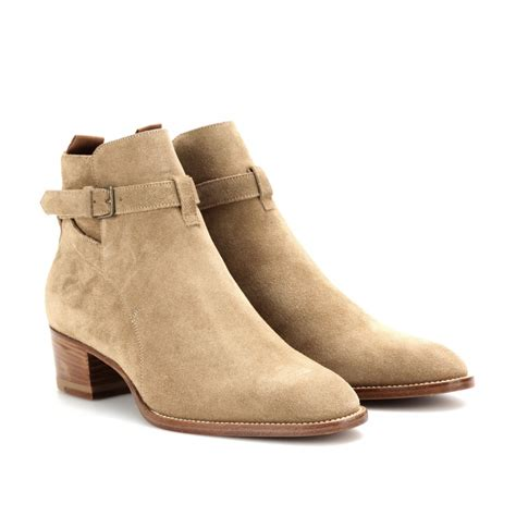 laurent wyatt suede ankle boots in brown lyst