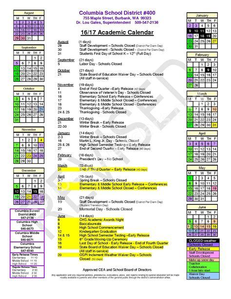 Columbia Academic Calendar Columbia Walla Walla School District Calendars Burbank Wa