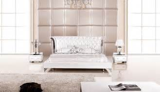 Bedroom Furniture Set White 3 Modern Wing Genuine White Leather Bedroom Set