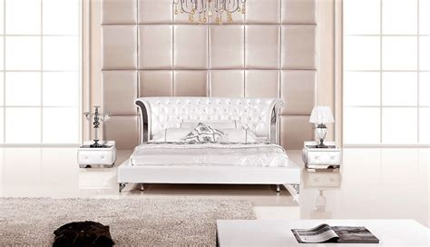 piece modern wing genuine white leather bedroom set