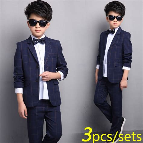 Setelan Vest Kid boys plaid suit 2 button wedding suits for boy 3 pieces set coat shirt child formal