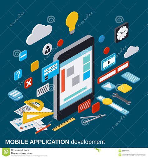 mobile application design vector mobile application development seo process algorithm