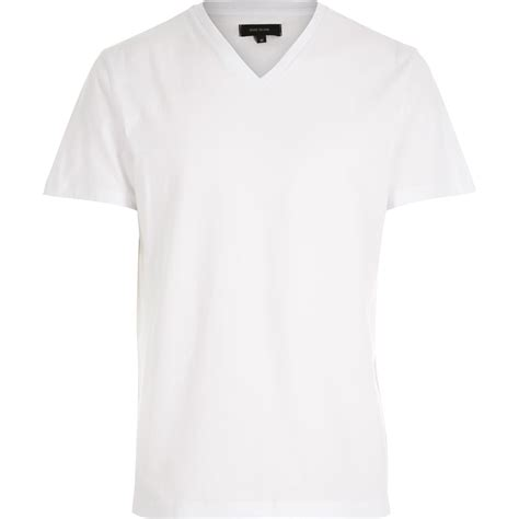 V Neck Plain T Shirt lyst river island white plain v neck t shirt in white