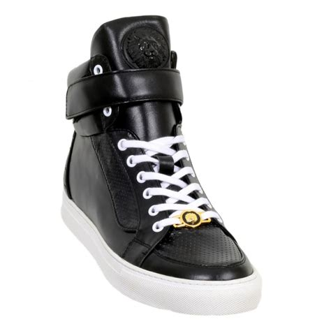 mens black high top sneakers buy black casual shoes for by versace uk at togged