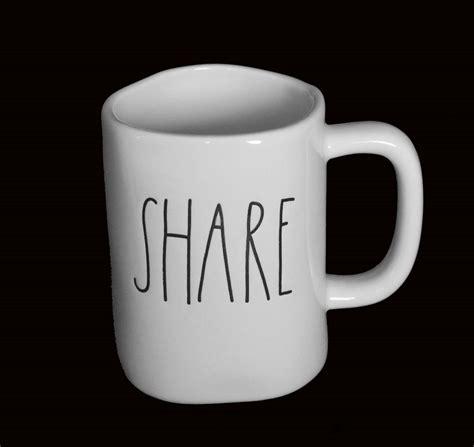 rae dunn mug lrg rae dunn script white black red uneven unique mug