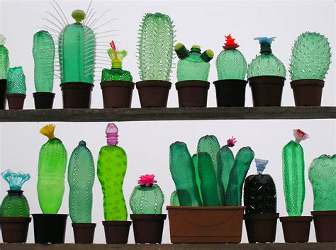 art of recycle recycled pet plastic bottle plant sculptures by veronika